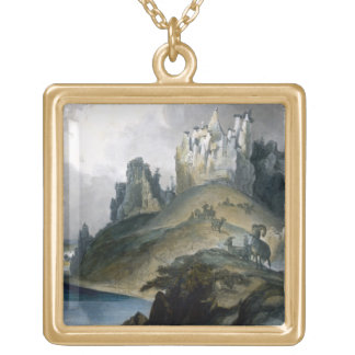 View of the Stone Walls on the Upper Missouri, pla Gold Plated Necklace