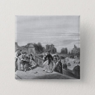 View of the Terrace, Central Park, 1872 15 Cm Square Badge