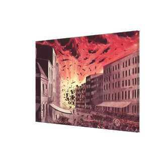 View of the Terrific Explosion at the Great Fire Canvas Print