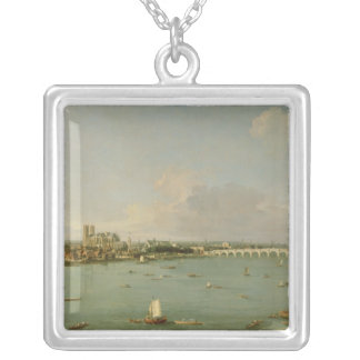 View of the Thames from South of the River Silver Plated Necklace