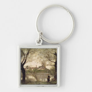 View of the Town and Cathedral of Mantes Silver-Colored Square Key Ring
