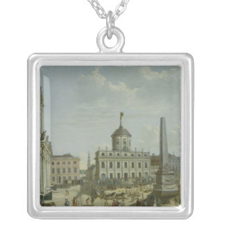View of the Town Hall, 1772 Silver Plated Necklace