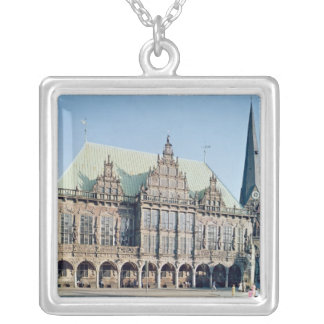 View of the Town Hall, built 1405-09 Silver Plated Necklace