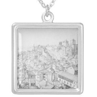 View of the Town of Avignon and its surroundings Silver Plated Necklace