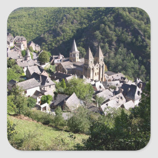 View of the village and the Church of St. Foy (pho Square Sticker