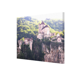View of the village and the church (photo) 2 canvas print