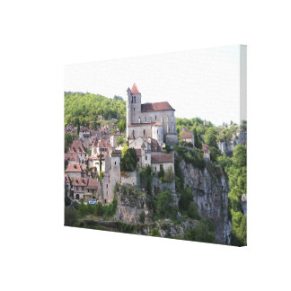 View of the village and the church (photo) 3 canvas print