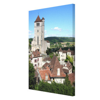 View of the village and the church (photo) canvas print