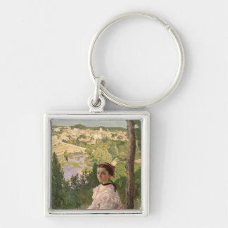View of the village, Castelnau, 1868 Silver-Colored Square Key Ring