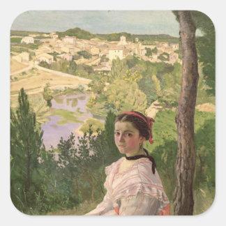 View of the village, Castelnau, 1868 Square Sticker