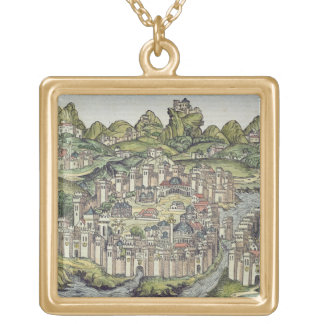 View of the walled city of Constantinople, from th Gold Plated Necklace