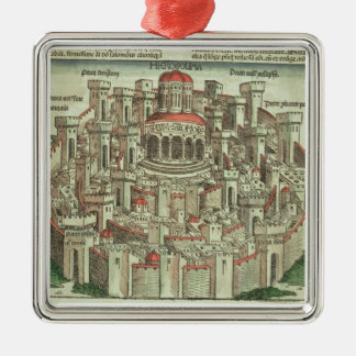 View of the walled city of Jerusalem showing the T Christmas Ornament
