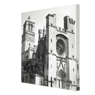 View of the west facade and tower stretched canvas print