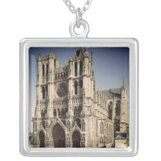 View of the West Facade, c.1220-70 Square Pendant Necklace