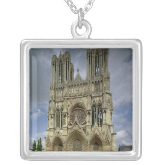 View of the west facade silver plated necklace