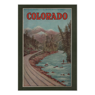 View of Train Alongside River - Travel Poster