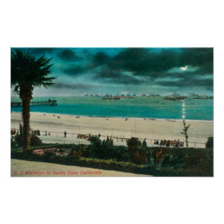 View of US Warships in the OceanSanta Cruz, CA Poster