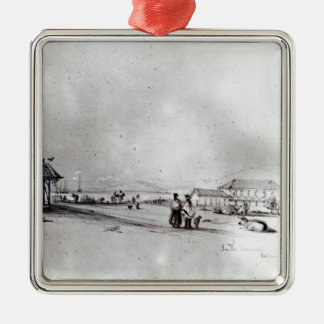 View of Valparaiso, 1834 Silver-Colored Square Decoration