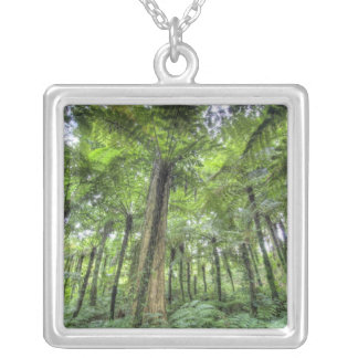 View of vegetation in Bali Botanical Gardens, Square Pendant Necklace