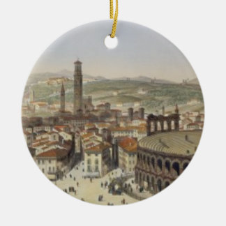 View of Verona, engraved by L. Cherbuin (colour en Christmas Ornament