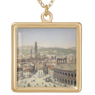 View of Verona, engraved by L. Cherbuin (colour en Gold Plated Necklace