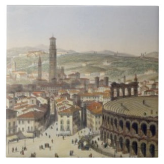 View of Verona, engraved by L. Cherbuin (colour en Tile