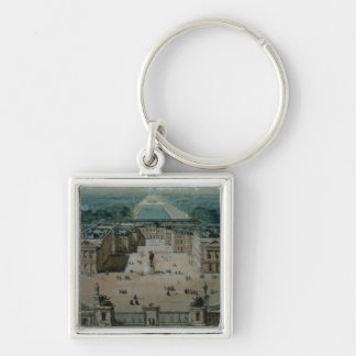 View of Versailles Silver-Colored Square Key Ring