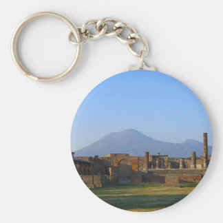 View Of Vesuvius Over The Ruins Of Pompeii Basic Round Button Key Ring