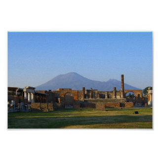 View Of Vesuvius Over The Ruins Of Pompeii Poster