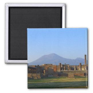 View Of Vesuvius Over The Ruins Of Pompeii Square Magnet