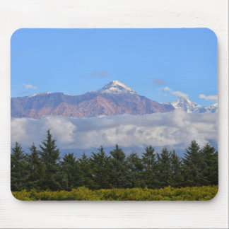 View Of Vineyard With Mountain On Background Mouse Pad