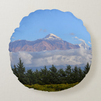View Of Vineyard With Mountain On Background Round Cushion