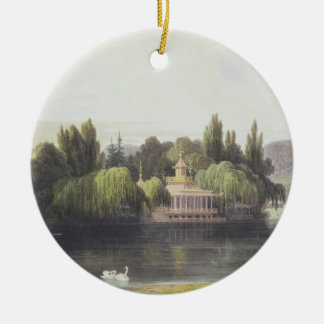 View of Virginia Water with Garden Temples, from ' Round Ceramic Decoration