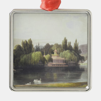 View of Virginia Water with Garden Temples, from ' Silver-Colored Square Decoration