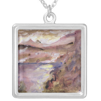 View of Walchen Lake, 1919 Silver Plated Necklace