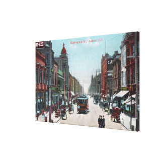 View of Washington Street with Cable Cars Canvas Print