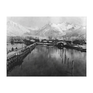 View of waterfront in Valdez, Alaska Photograph Canvas Print