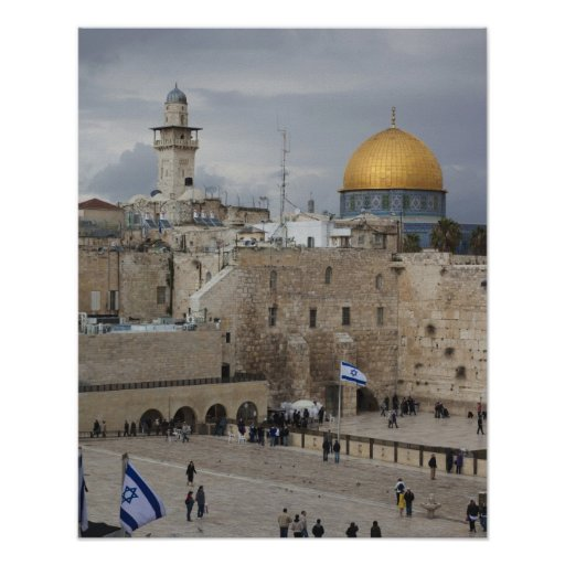 View of Western Wall Plaza, late afternoon Poster
