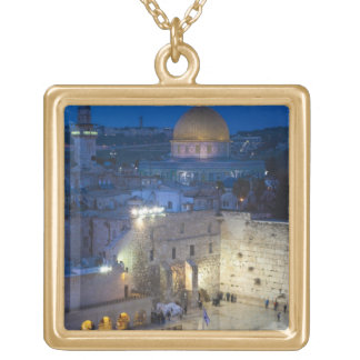 View of Western Wall Plaza, late evening Gold Plated Necklace