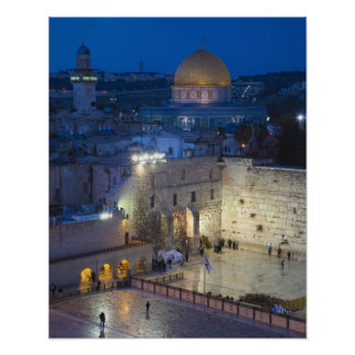 View of Western Wall Plaza, late evening Poster