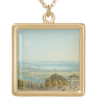 View of Zurich, c.1840 (w/c) Gold Plated Necklace
