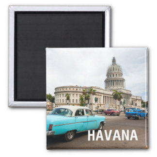 View on a building of Capitol in Havana, Cuba Square Magnet