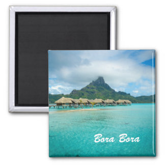 View on Bora Bora island magnet with text