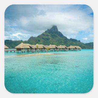 View on Bora Bora island square sticker
