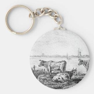 View on Dordrecht by Abraham van Strij Basic Round Button Key Ring