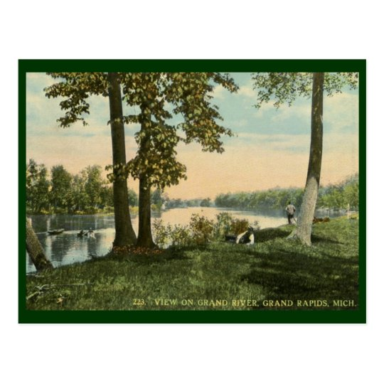 View on Grand River, Grand Rapids, MI Vintage Postcard