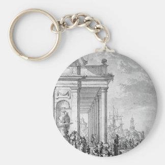 View on mediterrian port by Abraham van Strij Basic Round Button Key Ring