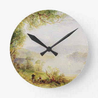View on the Hudson River, c.1840-45 (oil on panel) Round Clock