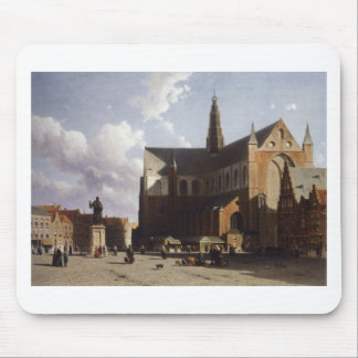 View on the market of Haarlem Sun by Johan Hendrik Mouse Pad