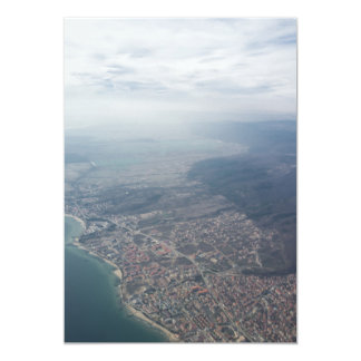 View on the seacoast through the airplane window 13 cm x 18 cm invitation card